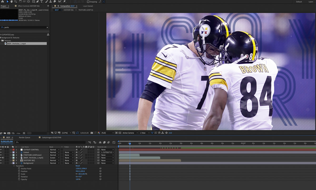 A composition inside AfterEffects which is composed of the different layers of the cutouts and picture of Ben Roethlisberger and Antonio Brown.