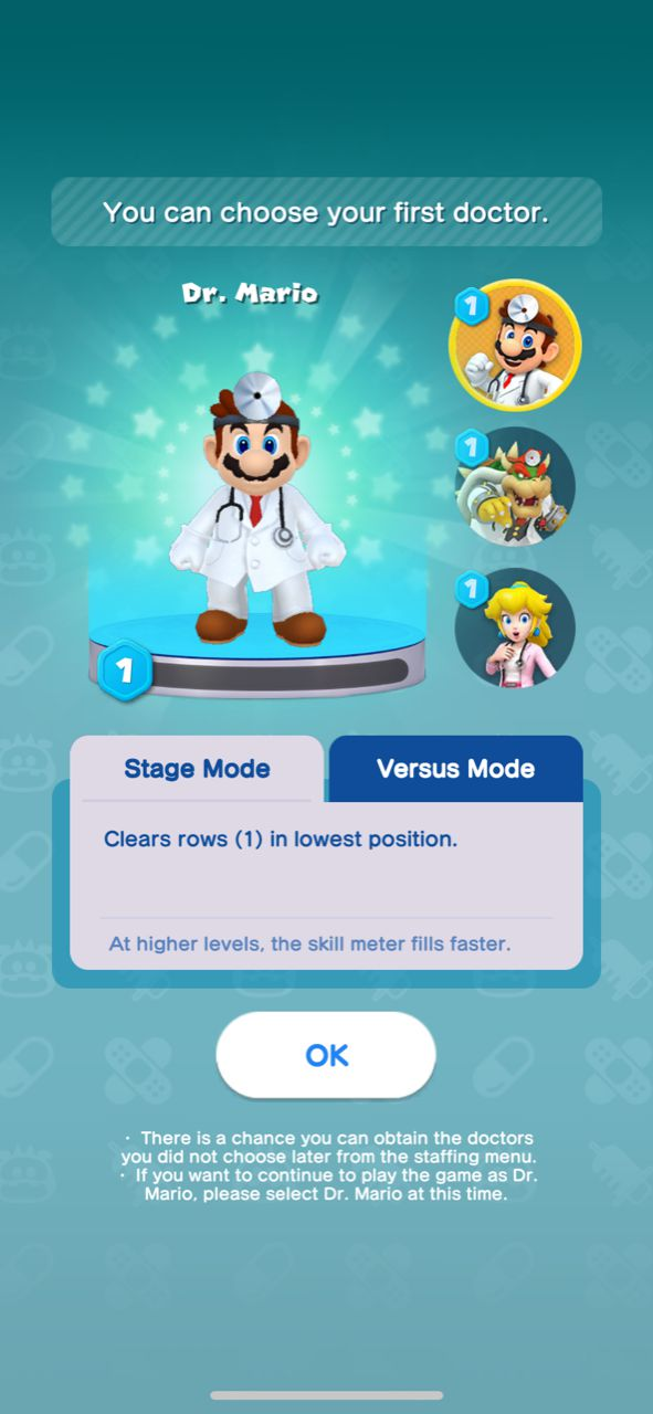An image of Mario in a select screen from Dr. Mario World