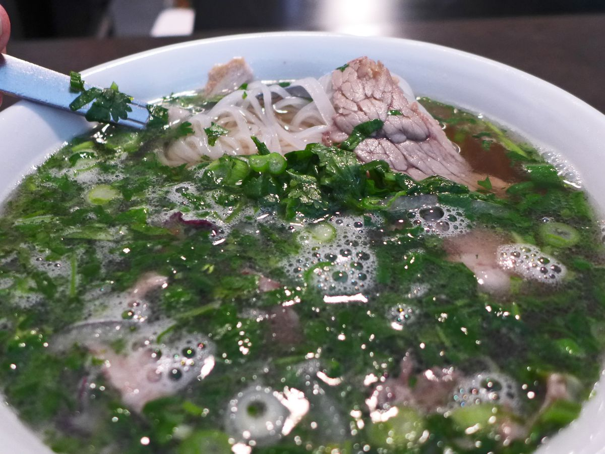 Pho turned bright green with scallions and cilantro.