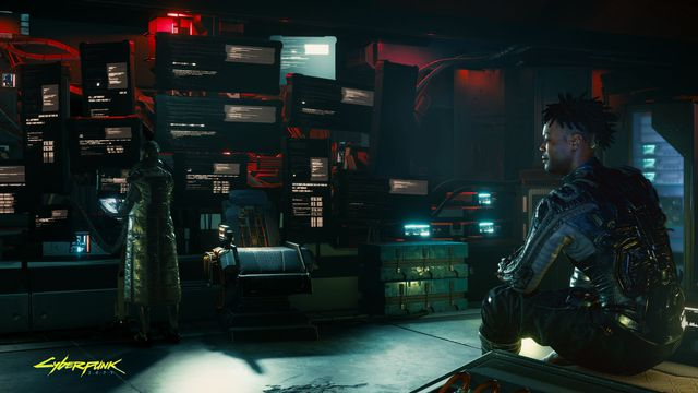 Voodoo Boys inside their hidden data fortress in Cyberpunk 2077.
