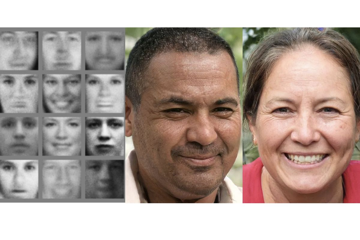 The faces on the left were created by AI in 2014; on the right are ones  made by AI in 2018. Image: Goodfellow et al; Karras, Laine, Aila / Nvidia