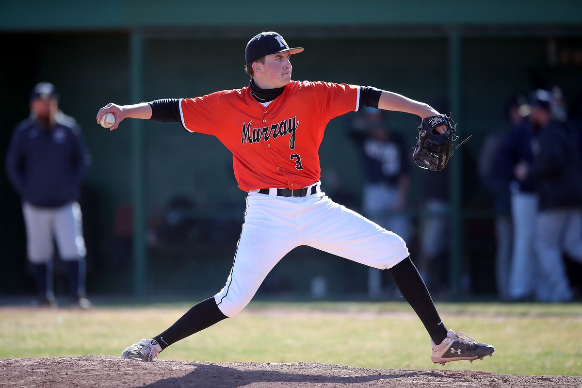Murray's Daniel Brousseau delivers a pitch during a high school baseball game at Skyline in Murray at Ken Price Ballpark on Tuesday, March 30, 2021. Murray won 7-5.