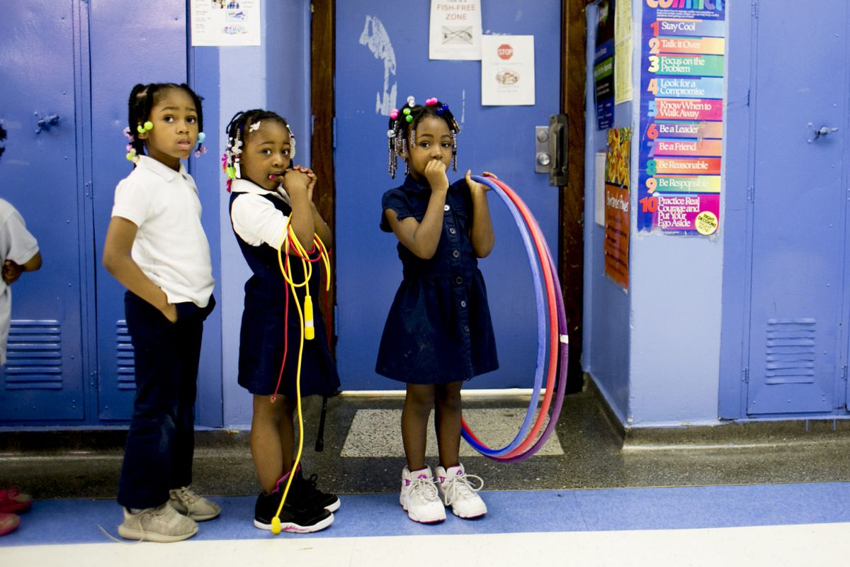Students at Detroit's Paul Robeson Malcolm X Academy line up to go to recess. Recess isn't guaranteed to students are more than a dozen other district elementary schools.