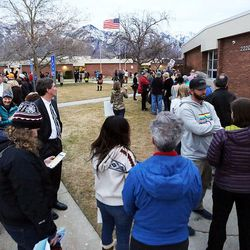 Crowds of people line up at Brighton High School for a town hall meeting with Rep. Jason Chaffetz in Cottonwood Heights on Thursday, Feb. 9, 2017.