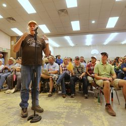 San Juan County Commissioner Phil Lyman makes comments during a meeting in Bluff with Interior Secretary Sally Jewells as she visits southern Utah on Saturday, July 16, 2016.