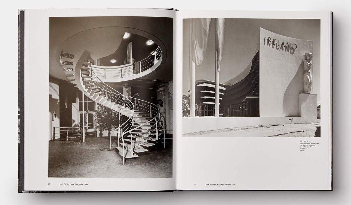 A spread from a book showing two dramatic black and white photos of midcentury architecture: a spiral staircase and a curving building.