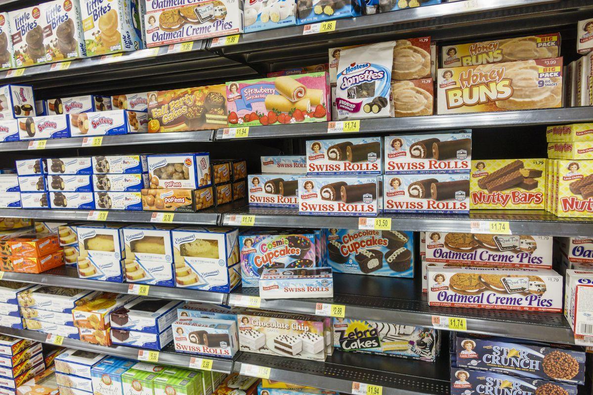 Walmart shelves selling junk food.