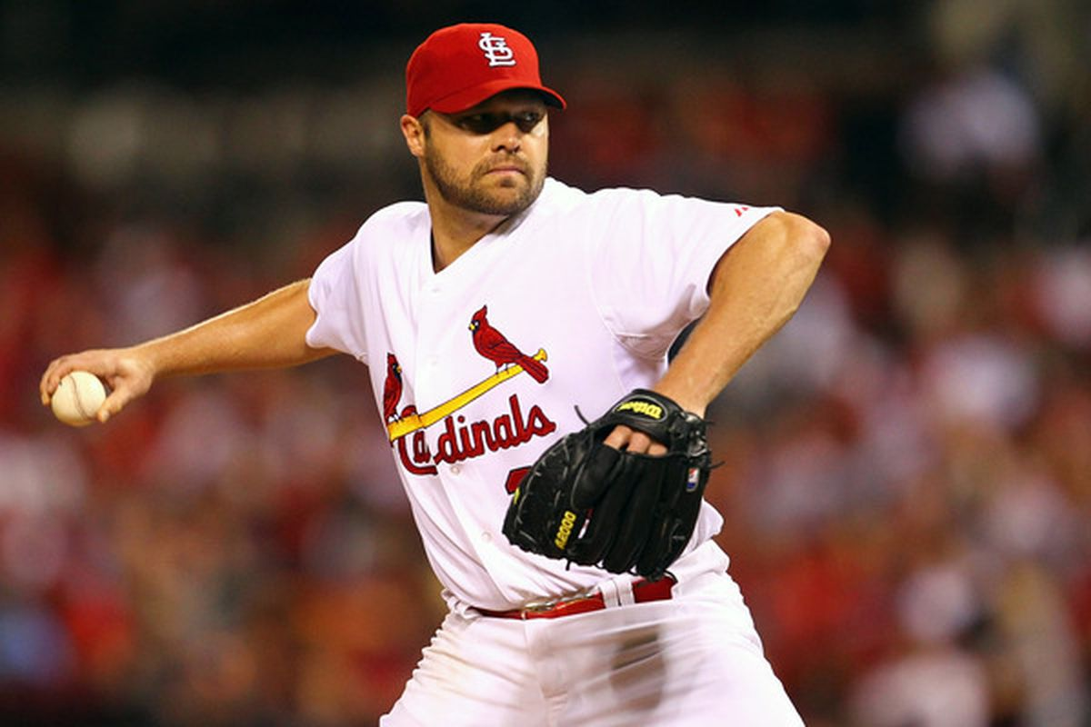 ST. LOUIS - SEPTEMBER 16: Starter Jake Westbrook #35 of the St. Louis Cardinals pitches against the San Diego Padres at Busch Stadium on September 16 2010 in St. Louis Missouri.  (Photo by Dilip Vishwanat/Getty Images)