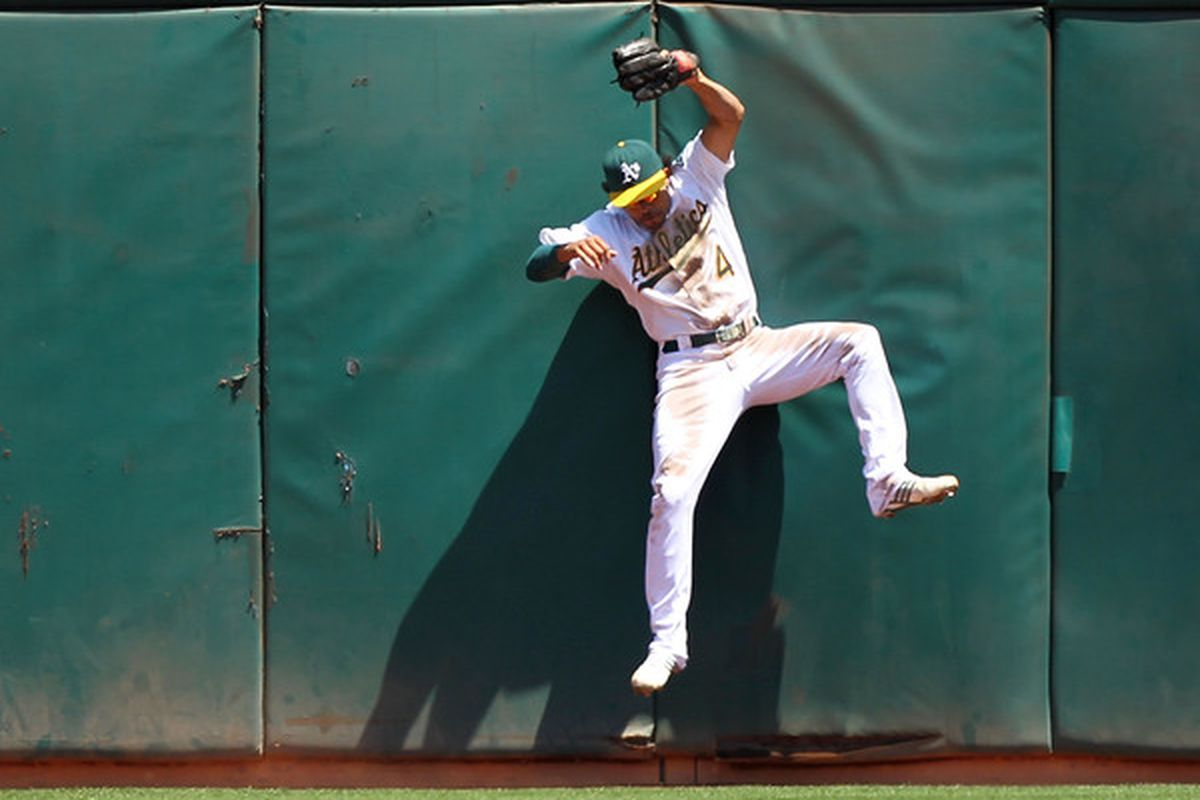 """Coco Crisp sets up in the A's """"no doubles defense"""" alignment."""