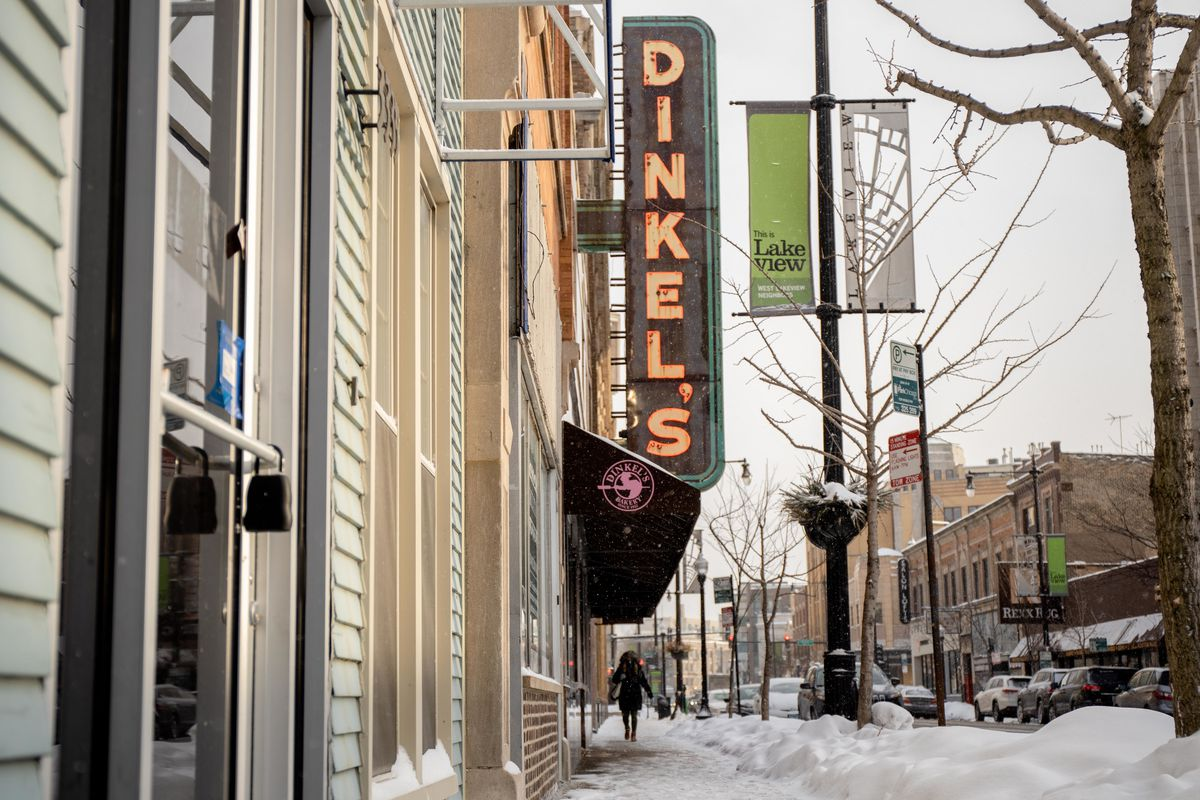 A view of Dinkel's Bakery's vertical neon sign on Saturday outside its storefront at 3329 N. Lincoln Ave. in Lake View.