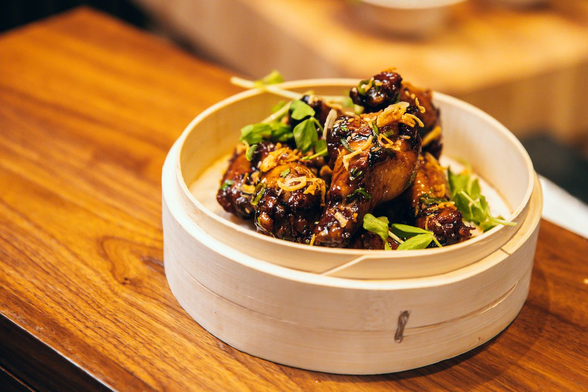 Adobo wings at Wings & Woks at Chase Center