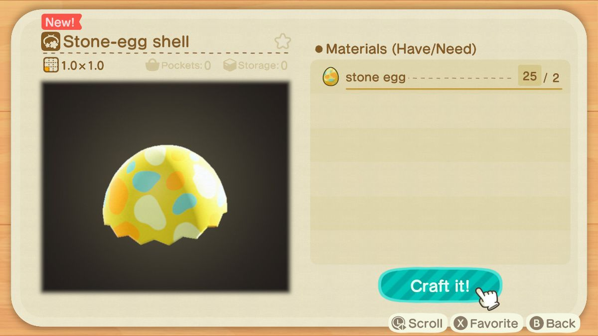 A crafting screen in Animal Crossing showing how to make a Stone-Egg Shell