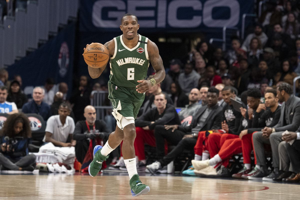 Milwaukee Bucks guard Eric Bledsoe dribbles up the court during the second half against the Washington Wizards at Capital One Arena.