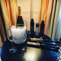Dakota Fanning is winning with personalized champagne.