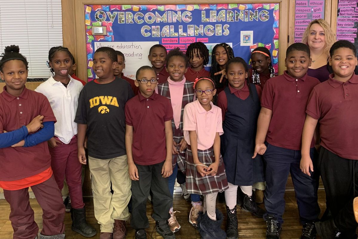 Mary Jane Espina's third grade class at Detroit's Pulaski Elementary School. As a master teacher, she teaches for half of the day and spends the rest coaching other teachers.