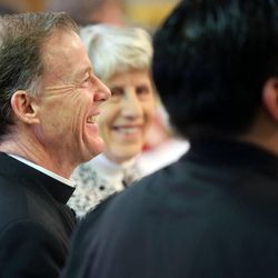 Bishop John C. Wester, of the Catholic Diocese of Salt Lake City, attends the annual Interfaith Prayer Breakfast at the Hellenic Cultural Center in Salt Lake City on Thursday, Feb. 5, 2015.