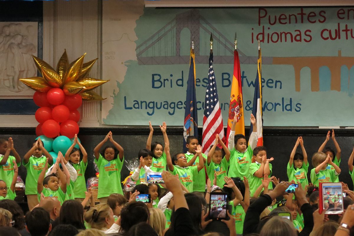 Students in a Spanish-English dual language program at P.S. 103 Dos Puentes Elementary School.