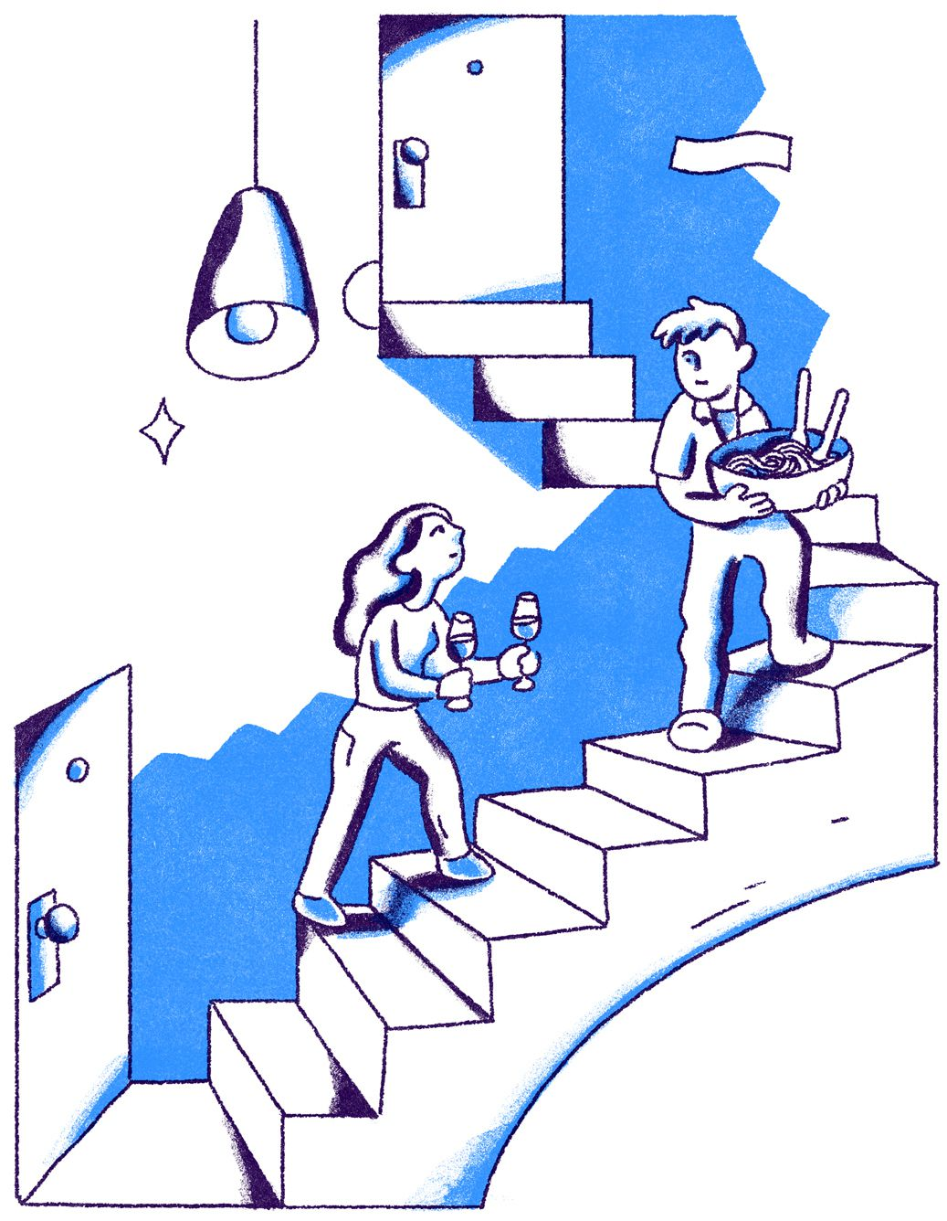 Two figures ascend a staircase, the front figure holding a bowl of pasta, the second figure follows holding two glasses of wine. Illustration.