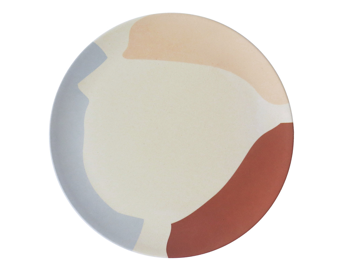 A plate with an abstract multicolored pattern.