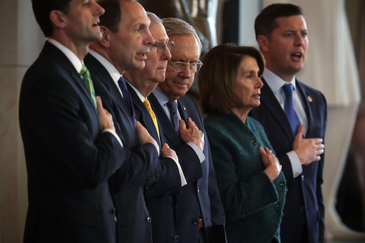 Speaker of the House Rep. Paul Ryan (R-WI), Secretary of Veterans Affairs Robert McDonald, Senate Majority Leader Mitch McConnell (R-KY), Senate Minority Leader Harry Reid (D-NV), House Minority Leader Nancy Pelosi (D-CA), and Acting Secretary of Army Patrick Murphy.