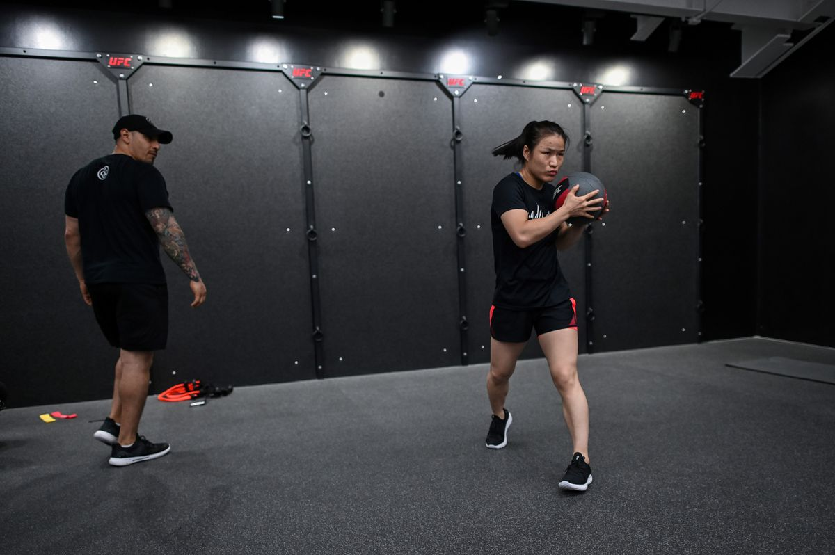 UFC champion Weili Zhang training with strength and conditioning coach Ruben Payan