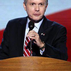 North Carolina Lt. Gov. Walter Dalton addresses the Democratic National Convention in Charlotte, N.C., on Thursday, Sept. 6, 2012.