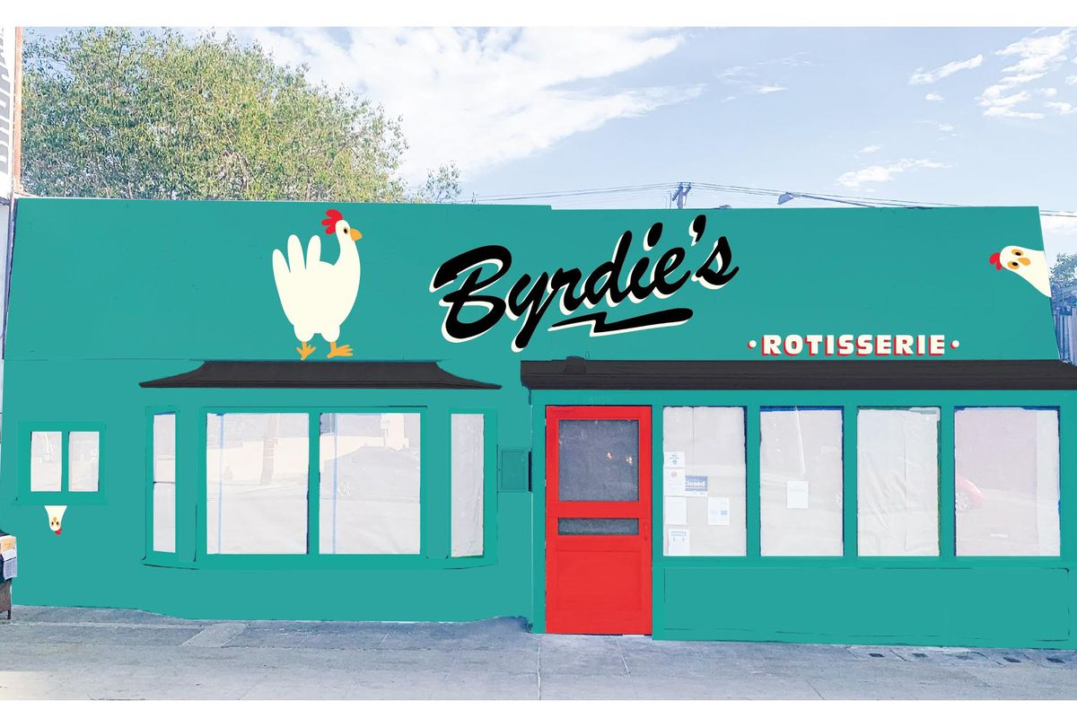 A colorful rendering of the exterior of a rotisserie chicken restaurant with red door.