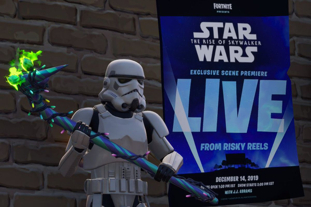 Promotional picture featuring an Imperial Stormtrooper in front of a movie poster announcing the exclusive premiere of a scene from Star Wars: The Rise of Skywalker in Fortnite on Dec. 14, 2019.