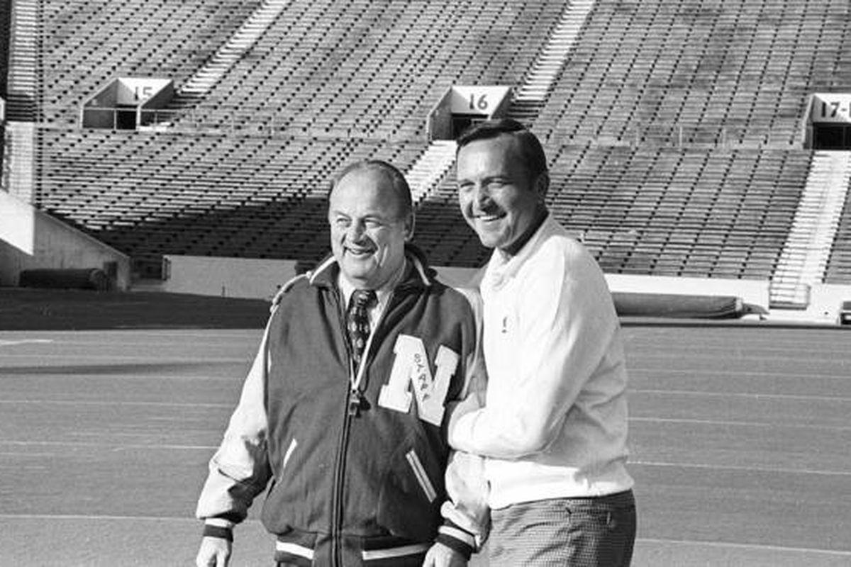 Former Oklahoma football coach, Chuck Fairbanks (right)
