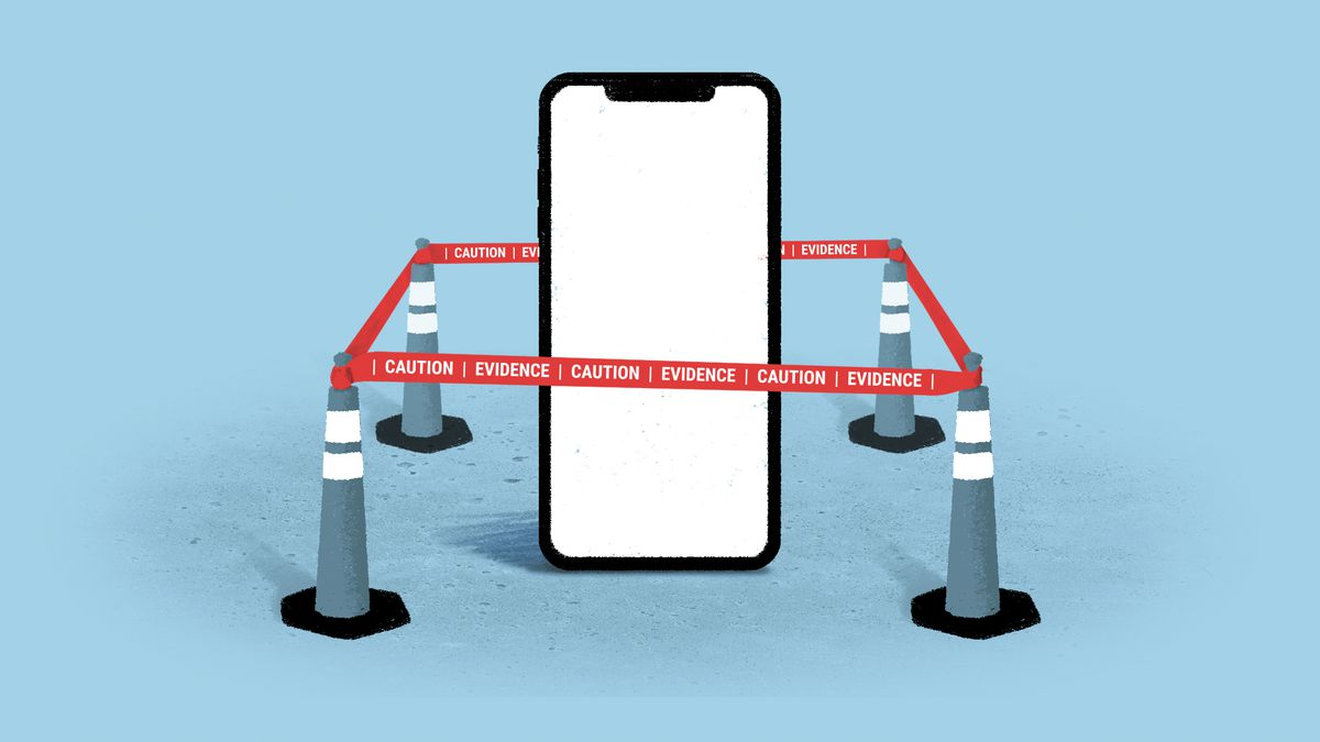 """An illustration of a giant phone surrounded by red tape that says """"Caution, evidence."""""""
