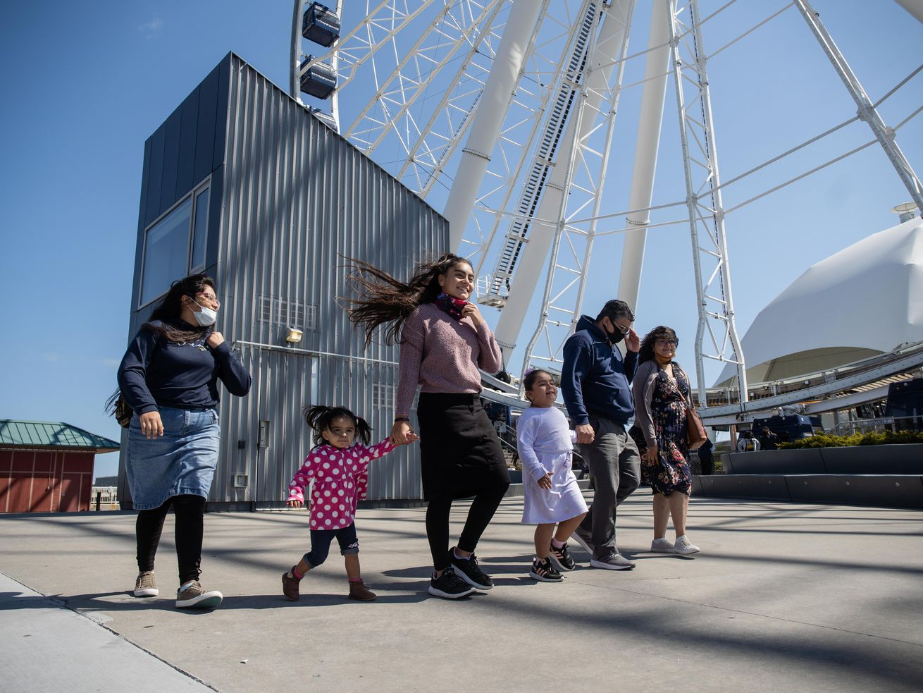 The Gomez family tours Navy Pier on its reopening day, Friday morning, April 30, 2021. Navy Pier closed in September 2020 due to the COVID-19 pandemic.