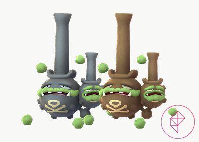 Shiny Galarian Weezing with its normal version. Shiny Galarian Weezing is copper instead of a dark grey.