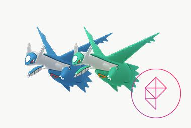 Shiny Latios with its regular form. Shiny Latios is a teal green with orange markings.