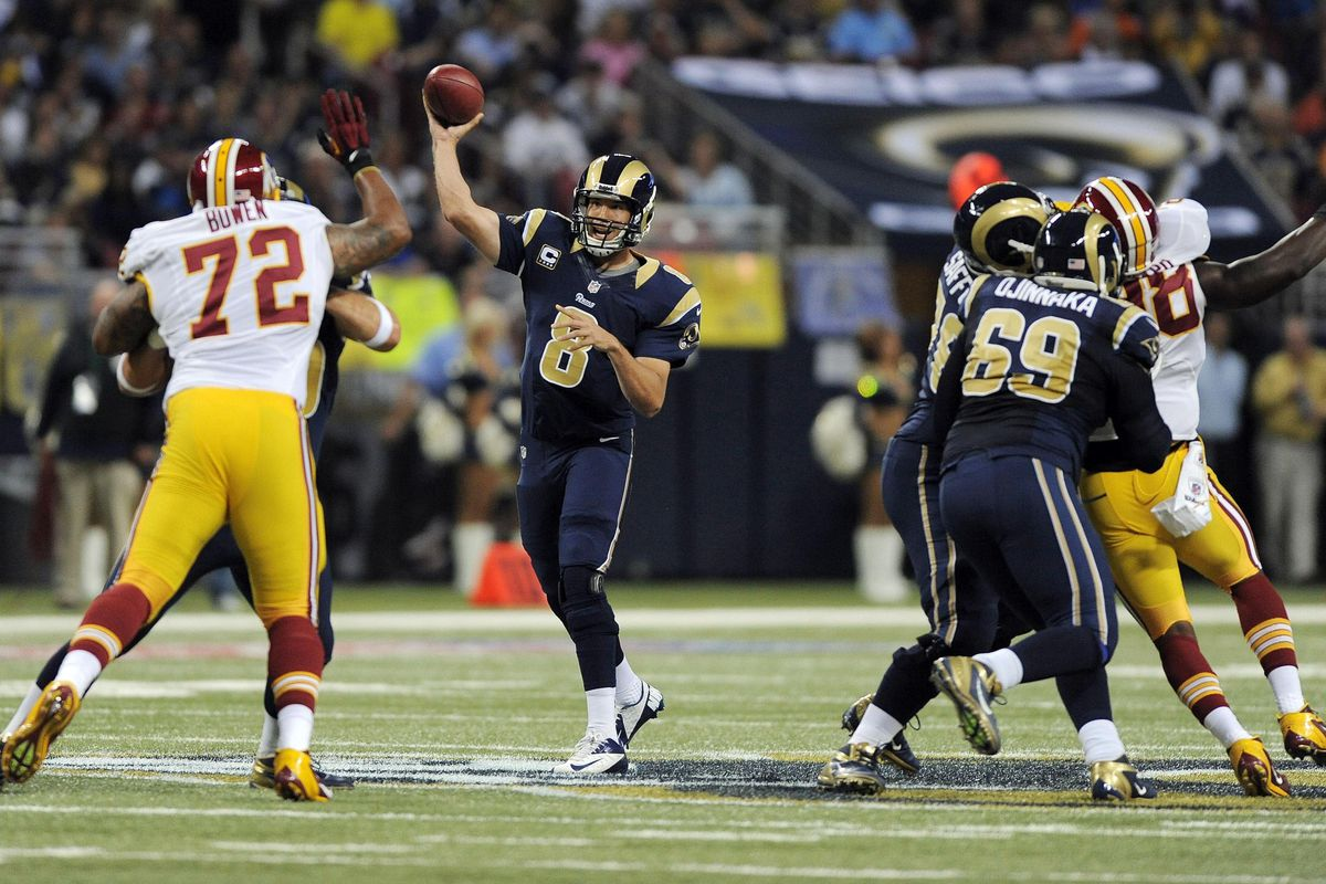 September 16, 2012; St. Louis, MO, USA; St. Louis Rams quarterback Sam Bradford (8) throws against the Washington Redskins during the first half at the Edward Jones Dome. Mandatory Credit: Jeff Curry-US PRESSWIRE
