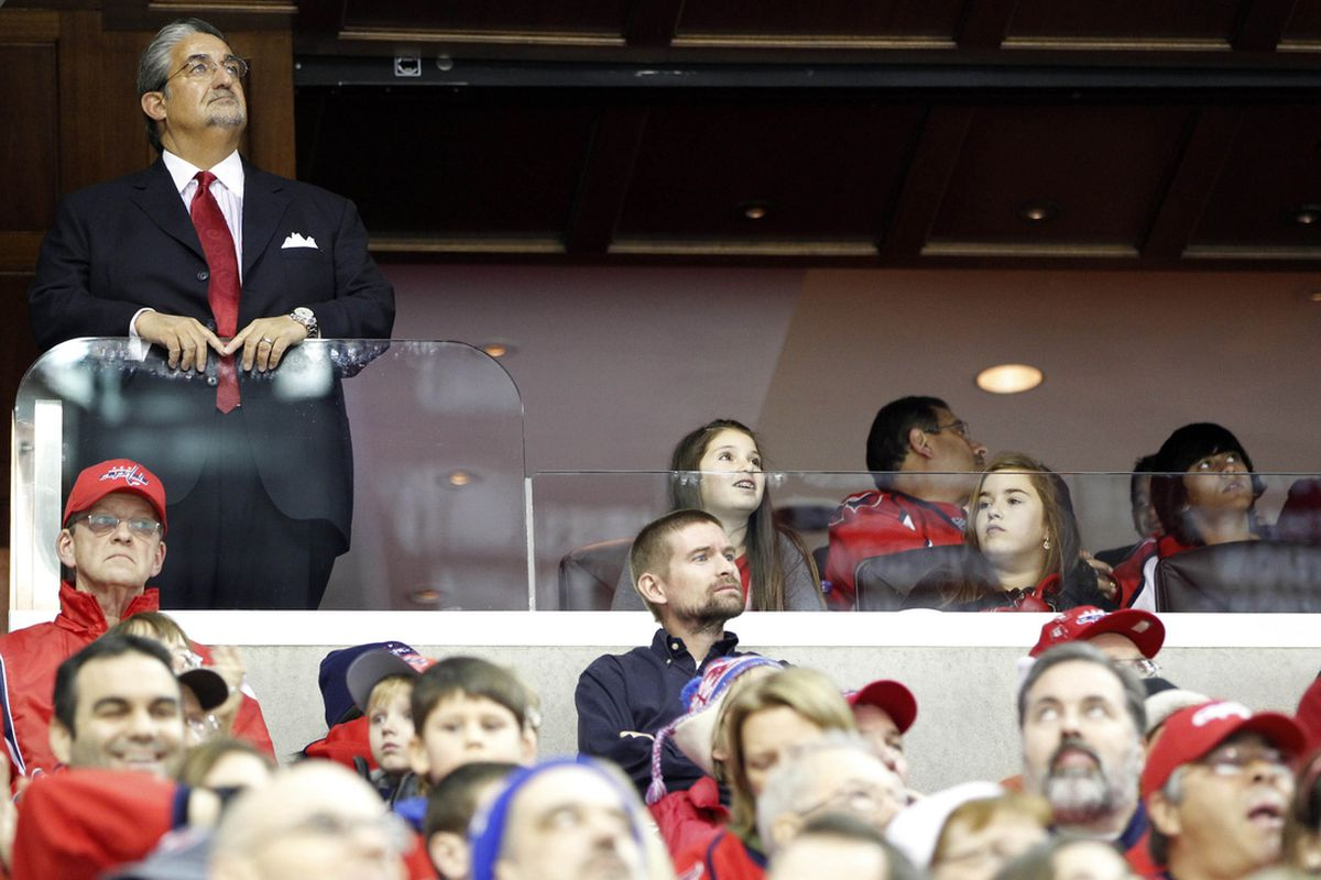 January 14, 2011; Washington, DC, USA; Washington Capitals owner Ted Leonsis (L) watches from his owners box during the Capitals game against the Vancouver Canucks at Verizon Center. Mandatory Credit: Geoff Burke-US PRESSWIRE