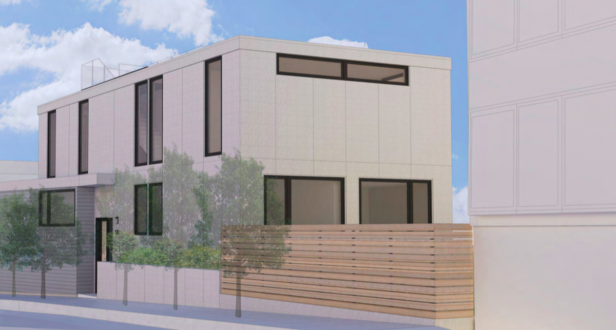 A rendering of the boxy white backside of a three-story home.