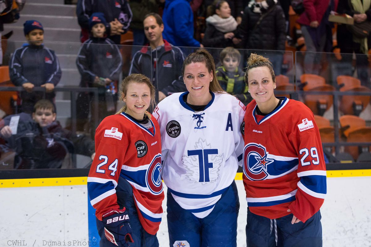 Marie-Philip Poulin (29), Natalie Spooner (Middle) and Ann-Sophie Bettez (24) are all in the top-six in CWHL scoring