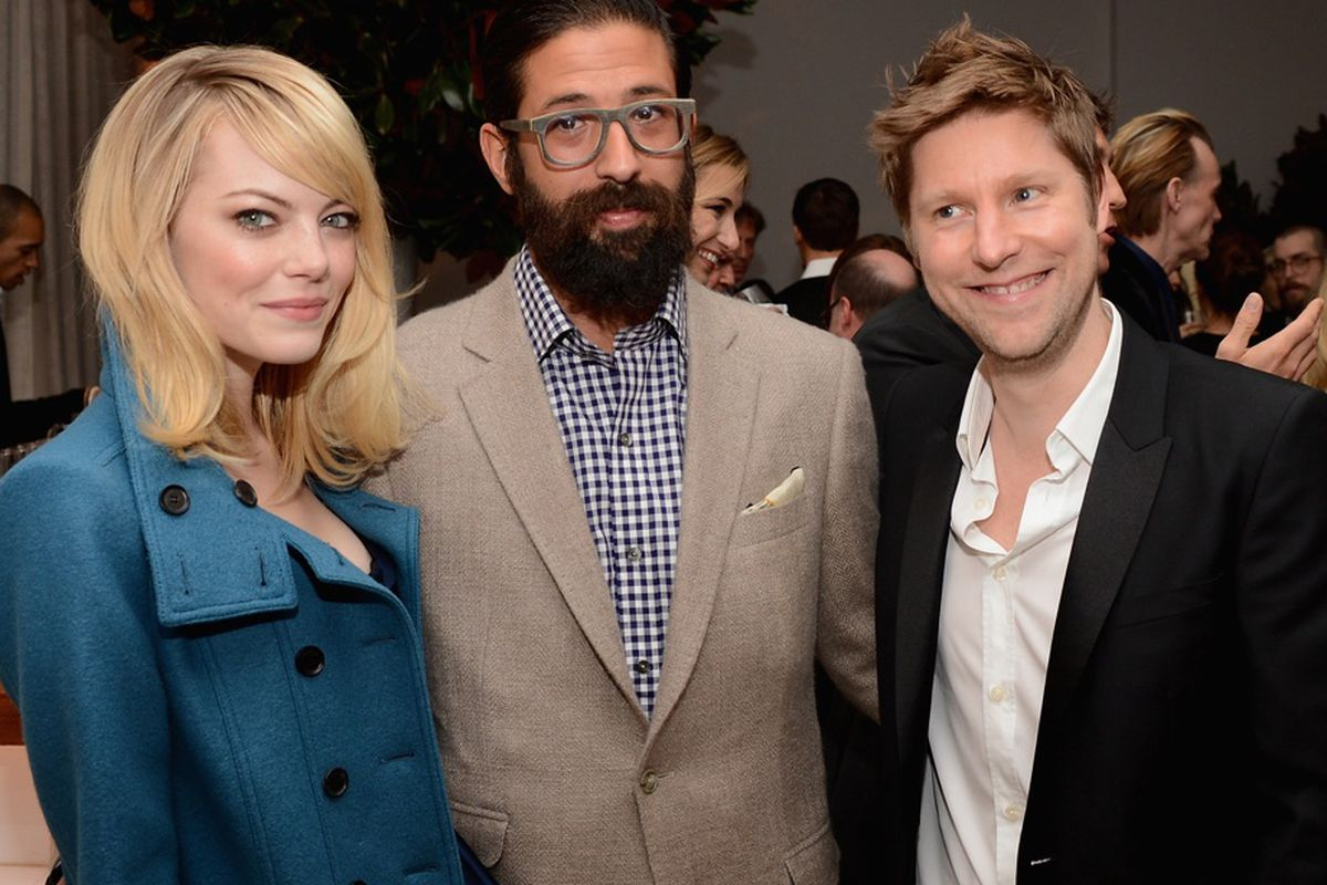 From left to right, Emma Stone, winner Greg Chait of The Elder Statesman, and Christopher Bailey