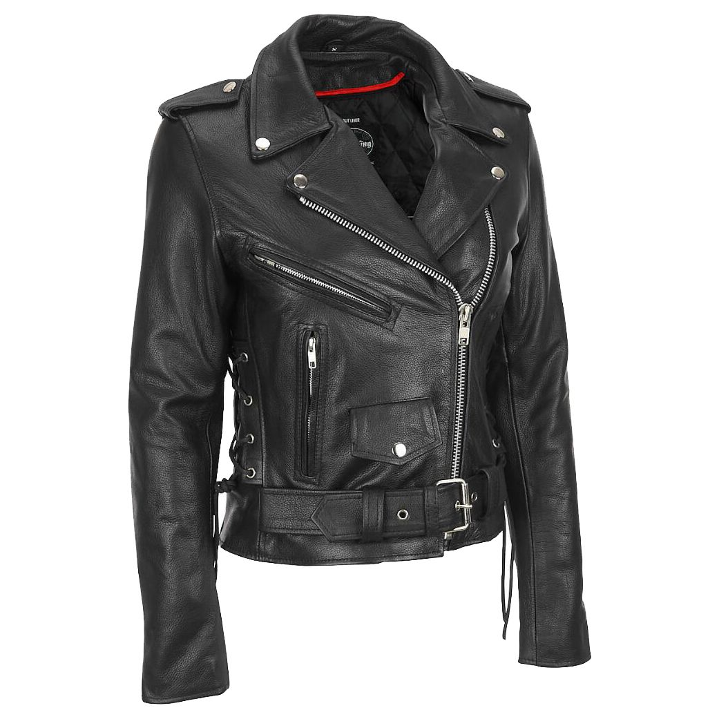 Plus-size leather jacket with lace-up side