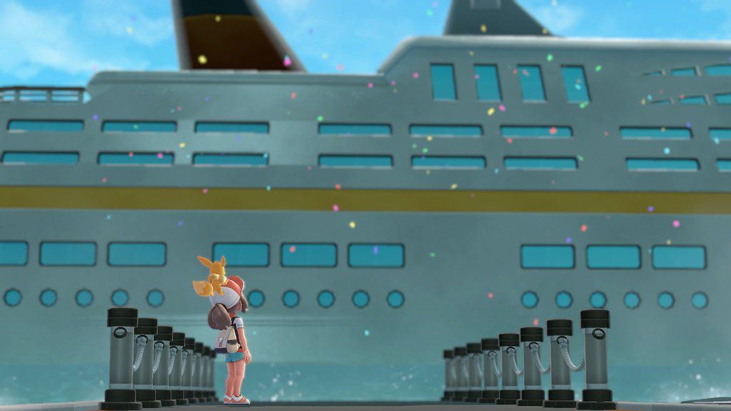 A screen from Pokémon: Let's Go! of a trainer standing before the S.S. Anne.