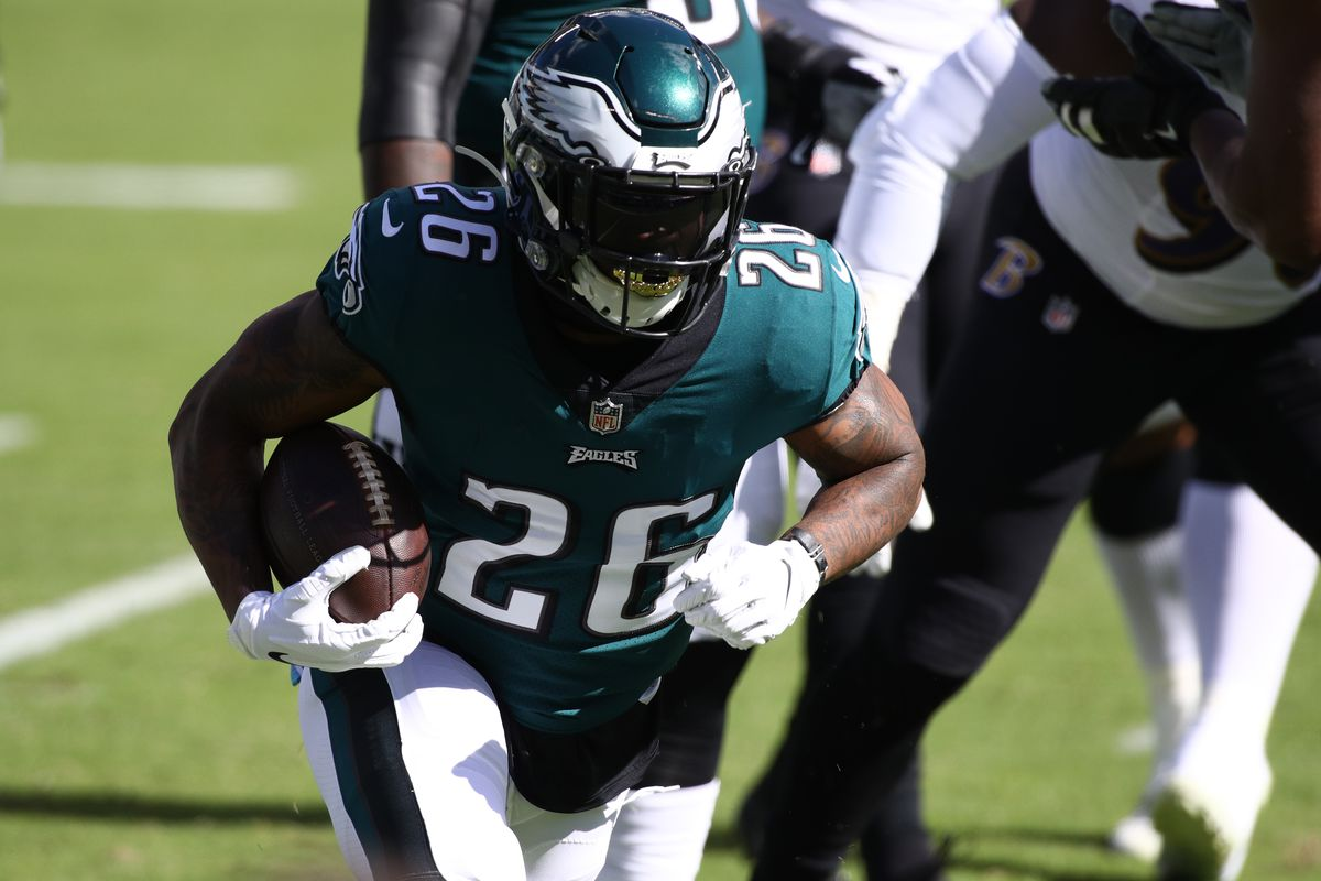 Philadelphia Eagles Running Back Miles Sanders carries the ball in the first half during the game between the Baltimore Ravens and Philadelphia Eagles on October 18, 2020 at Lincoln Financial Field in Philadelphia, PA.