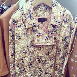 More floral gecko goodness in this oversized leather biker jacket in biscout brown.