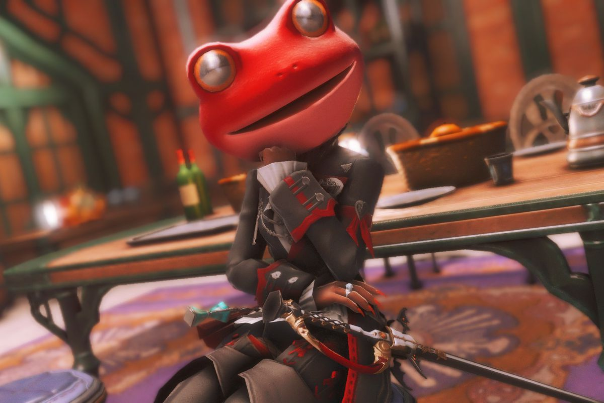 A Final Fantasy 14 character sits in a regal outfit but with a red frog head