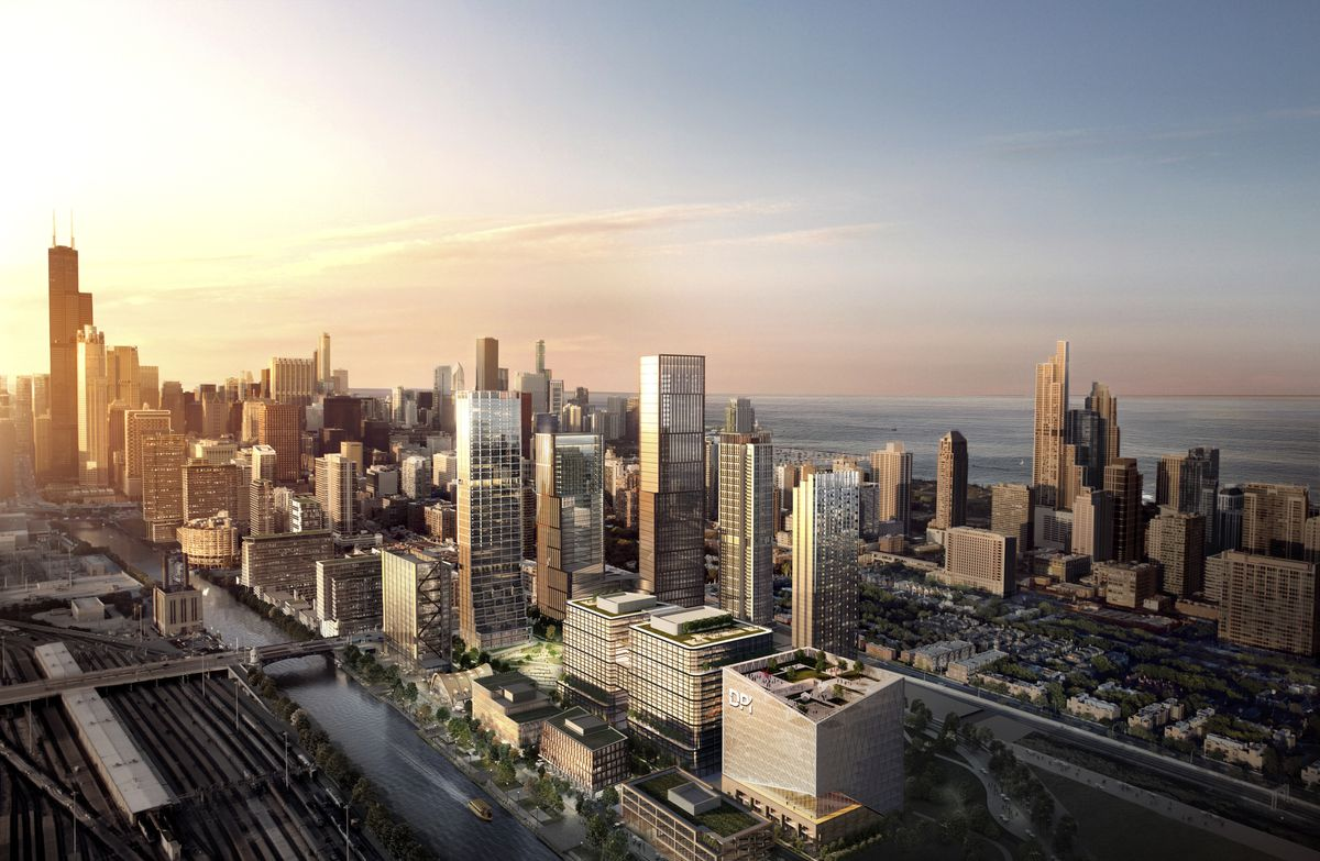 A rendering of what The 78 along the Chicago River could look like in coming years.