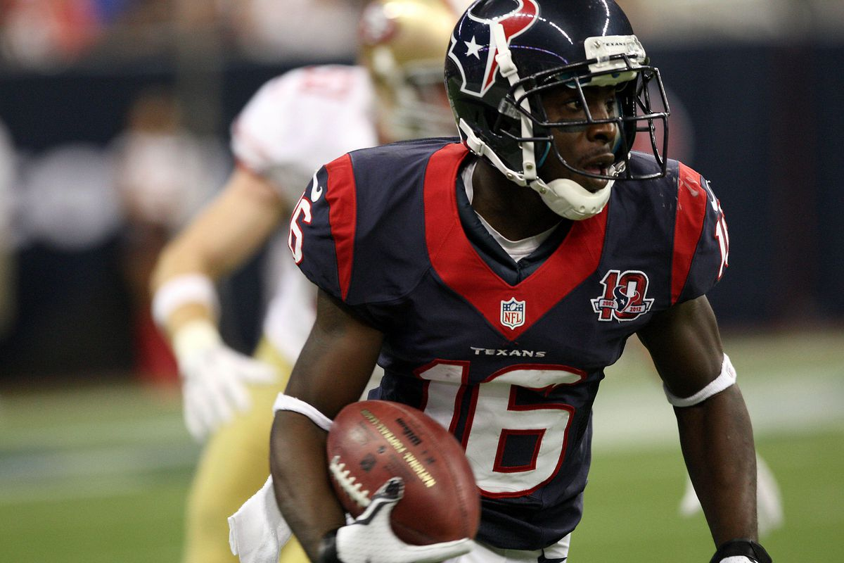 August 18, 2012; Houston, TX, USA; Houston Texans wide receiver Trindon Holliday (16) returns a punt for a touchdown during the fourth quarter against the 49ers at Reliant Stadium. Mandatory Credit: Troy Taormina-US PRESSWIRE