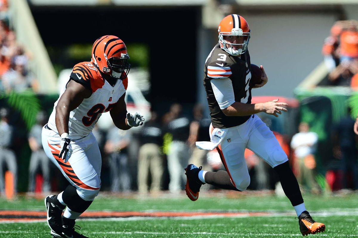 Sep 16, 2012; Cincinnati, OH, USA; Cleveland Browns quarterback Brandon Weeden (3) runs with the ball in the first quarter against the Cincinnati Bengals at Paul Brown Stadium. Mandatory Credit: Andrew Weber-US Presswire