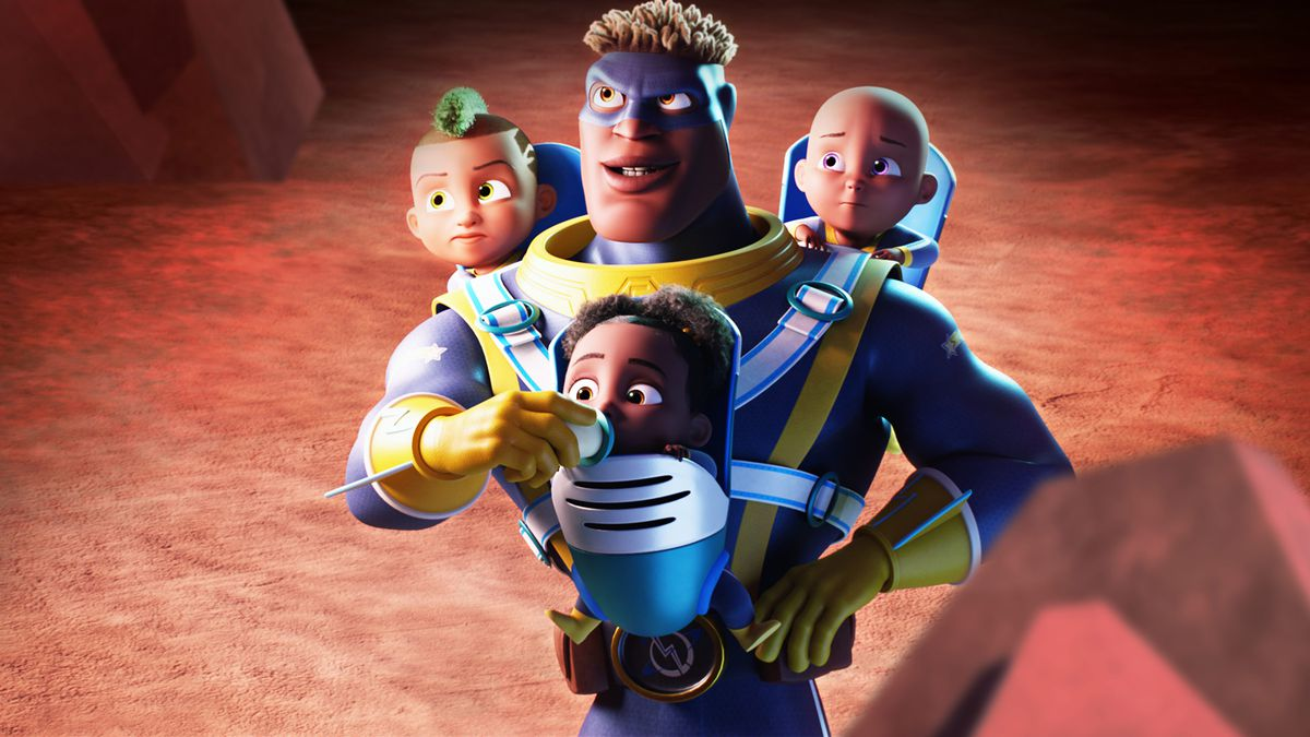 Superhero Captain Lightspeed feeds one of his three infants with a bottle during a battle in Fearless.