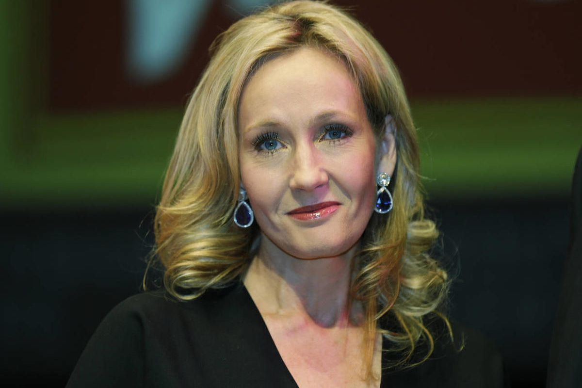 British author J.K. Rowling poses for photographers at the Southbank Centre in London.