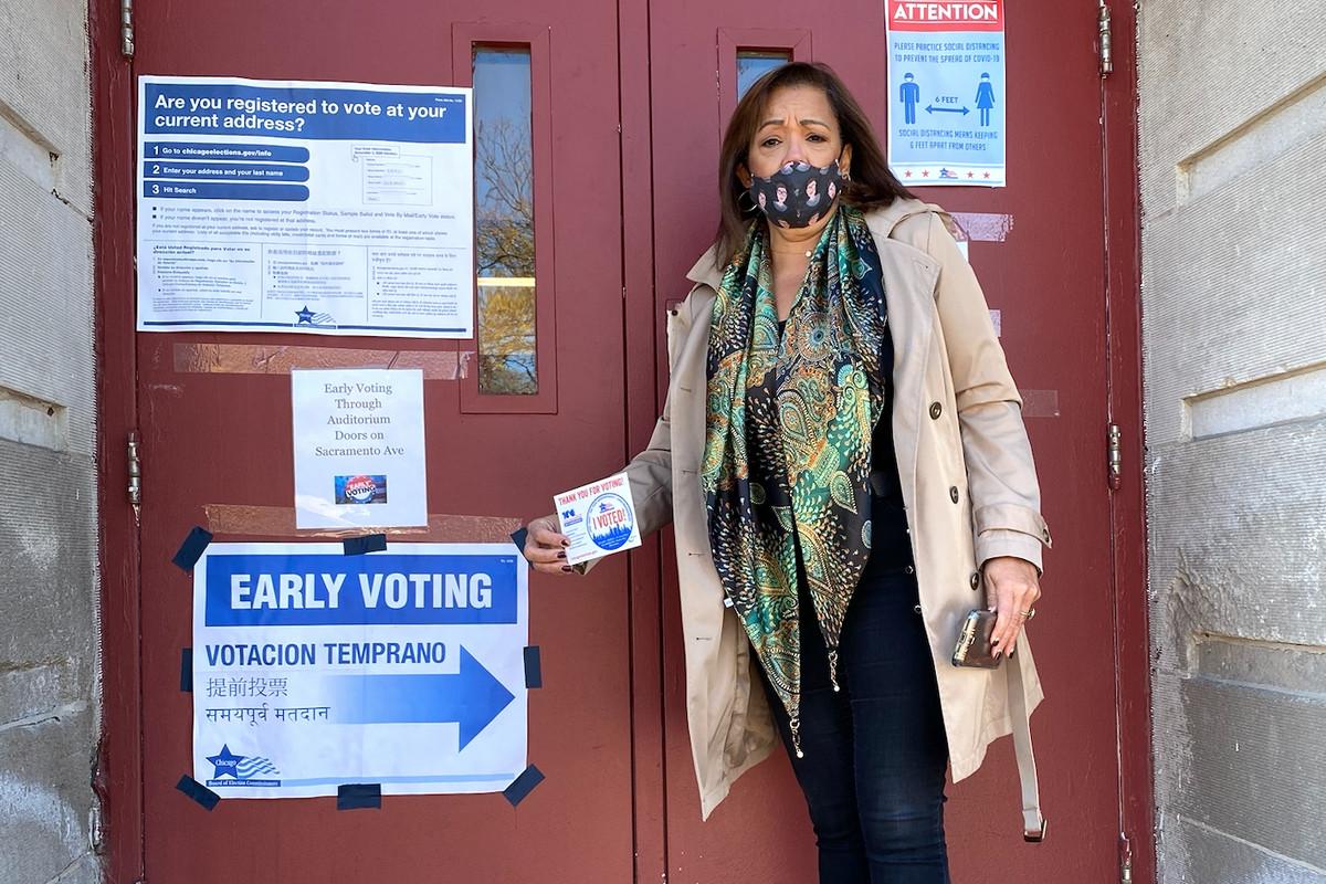 State Sen. Iris Martinez votes Wednesday, October 28, 2020, at Newton Bateman Elementary School, 4220 N. Richmond St.