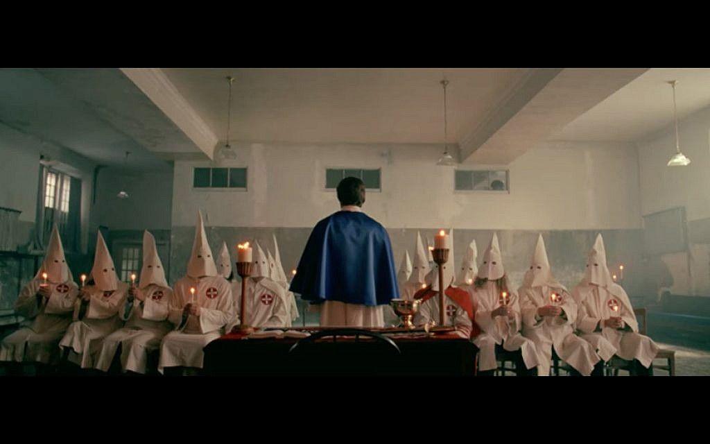 The Klan meeting in BlacKkKlansman.